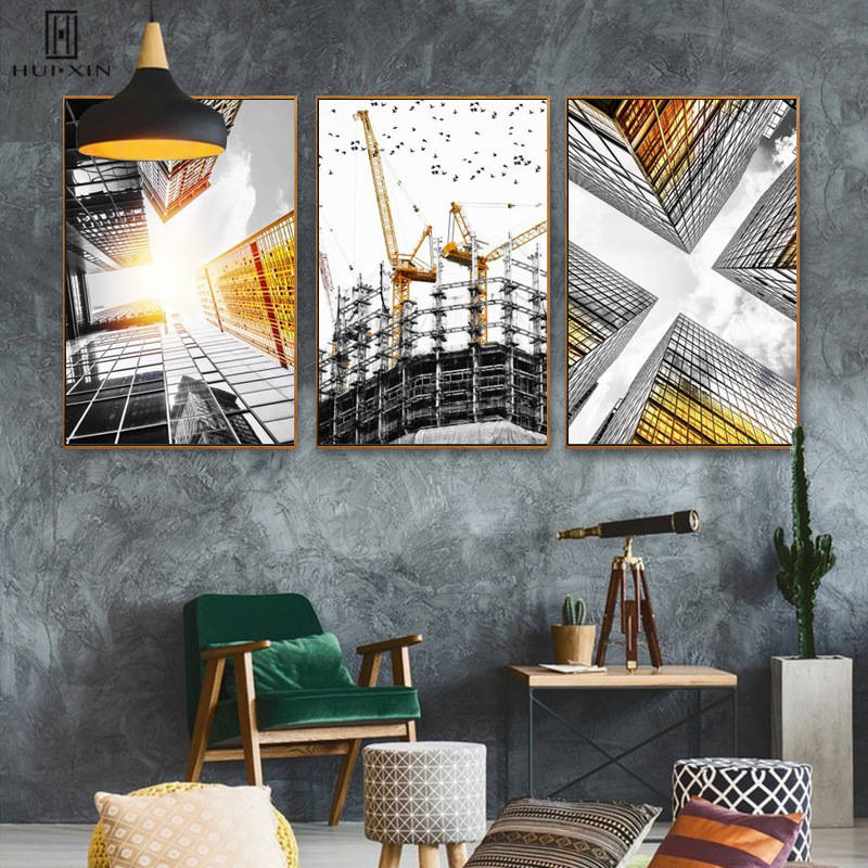 Impressive Skyscraper Landscape Paintings Construction Sites Decorative Canvas Posters Paintings Wall Art For Room Home Decor