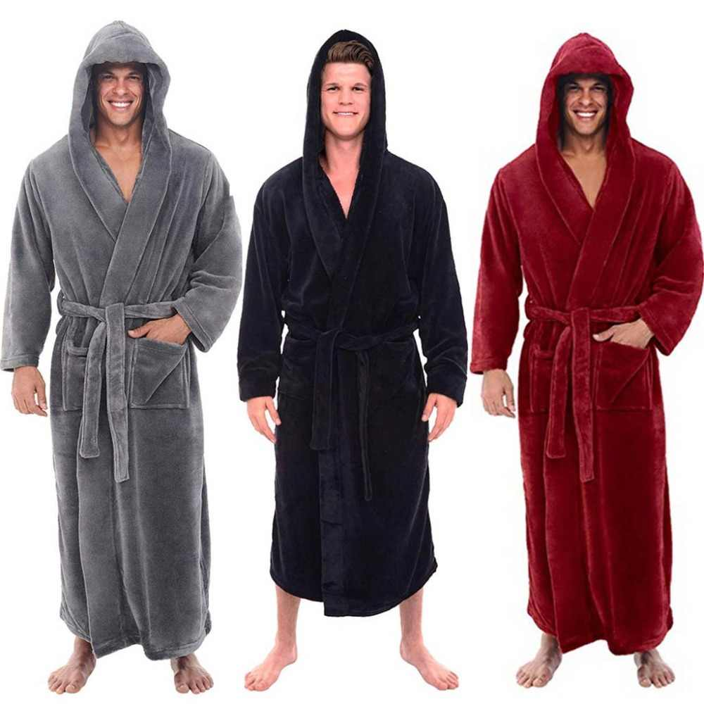 ddc9ccb006 Fashion Casual Mens Bathrobes Flannel Robe Hooded Long Sleeve Couple Men Woman  Robe Plush Shawl Kimono
