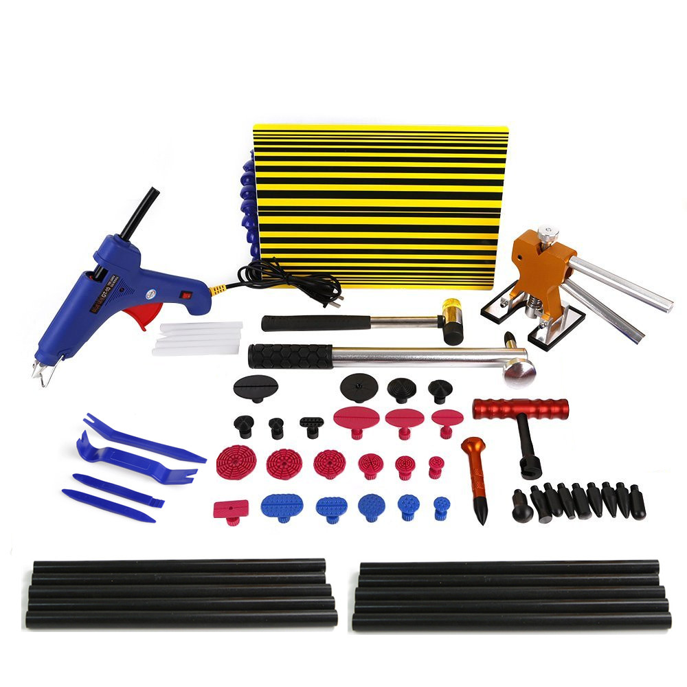 PDR Tool Kit for Pop a Dent  Car Repair Kit PDR Tools,PDR Line Board Dent Lifter Set Glue Stricks Pro Pulling Tabs Kit  car dent repair kit set pdr dent lifter glue gun100w 20x glue pulling tabs hail repair tool kits pdr starter kit dent removal