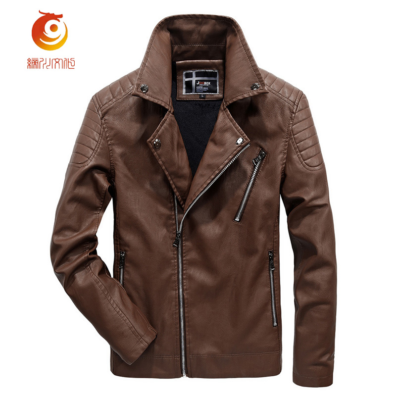 High Quality Soft PU Men Leather Jacket Leisure Stand Collar Motorcycle Mens Leather Jacket New Solid Color Jacket Size 3XL