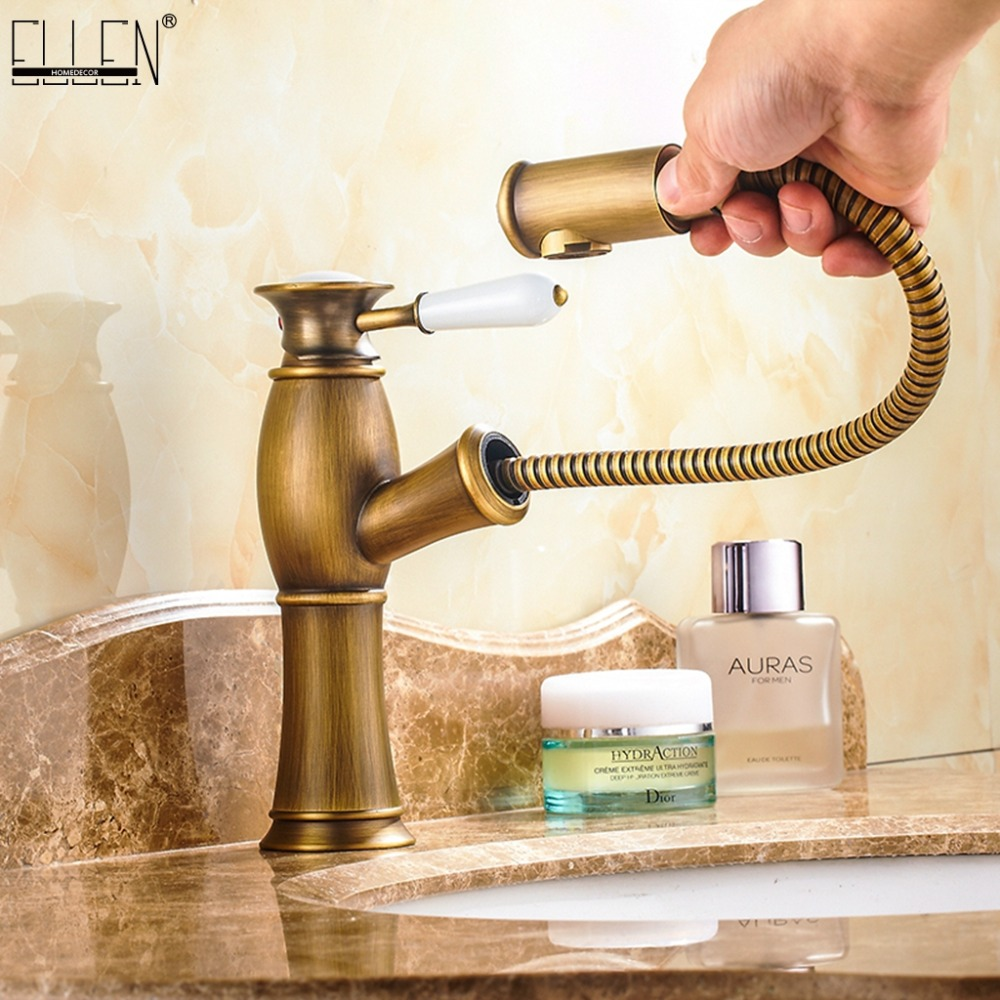 Pull Out Basin Sink Faucets Mixer Tap Brass Bathroom Antique Bronze Faucet pull out Modern Bath