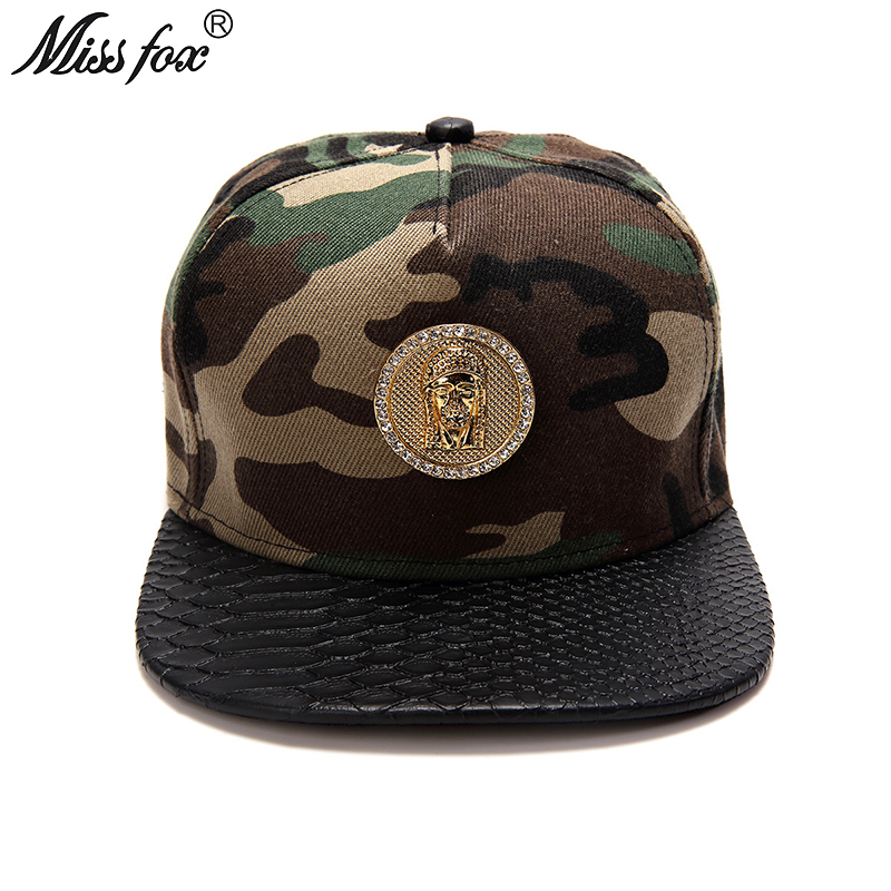 Missfox Hip Hop 18k Gold Plated Jesus Mens Hats Army Summer Hat Black Flat Brim Camouflage Mens Hats And Caps