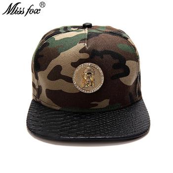 Missfox Hip Hop 18k pozłacane jezus męskie kapelusze armia kapelusz na lato czarne płaskie rondo kamuflaż męskie czapki i czapki tanie i dobre opinie Hip Hop Czapki Regulowany 531153440577 Faux leather GEOMETRIC