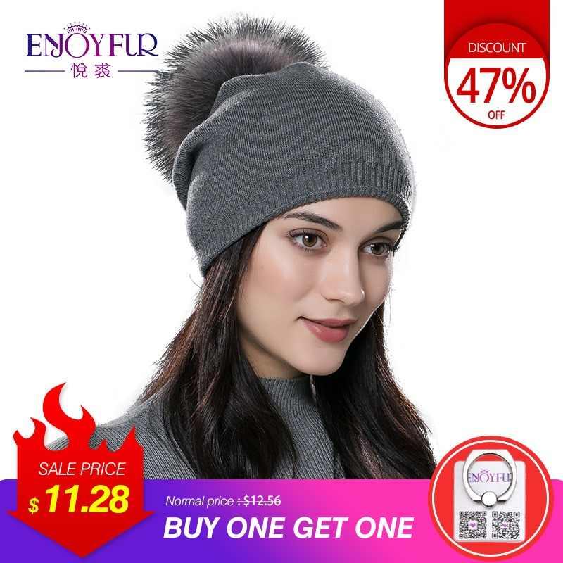 b8ddd709c9e ENJOYFUR Winter women real fur pom pom hats wool knitted thick warm lined beanies  hat lady