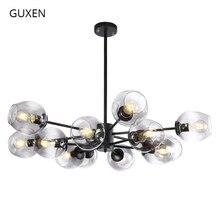 GUXEN led pendant light 6/8/12/16 head Classical lamp light for living room black/gold body 5 type glass case  for choose guxen hero hulk head