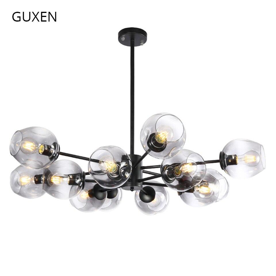 GUXEN led pendentif lumière 6/8/12/16 tête Classique lampe lumière pour salon noir/ or corps 5 type verre cas pour choisir