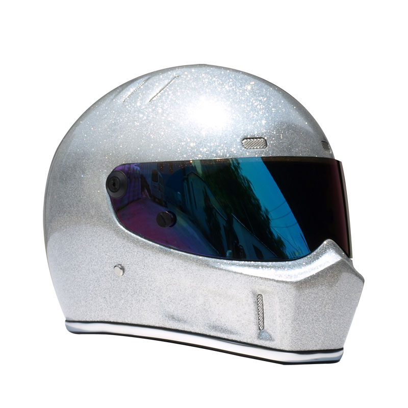 Limited Edition Space Silver Motorcycle Helmet Casco Moto Full Face Vintage Racing Helmet Karting Cars Helmet 5 colors Visors free shipping genuine sports car limited edition motorcycle helmet full helmet ls2 motorcycle oem red and white illusion