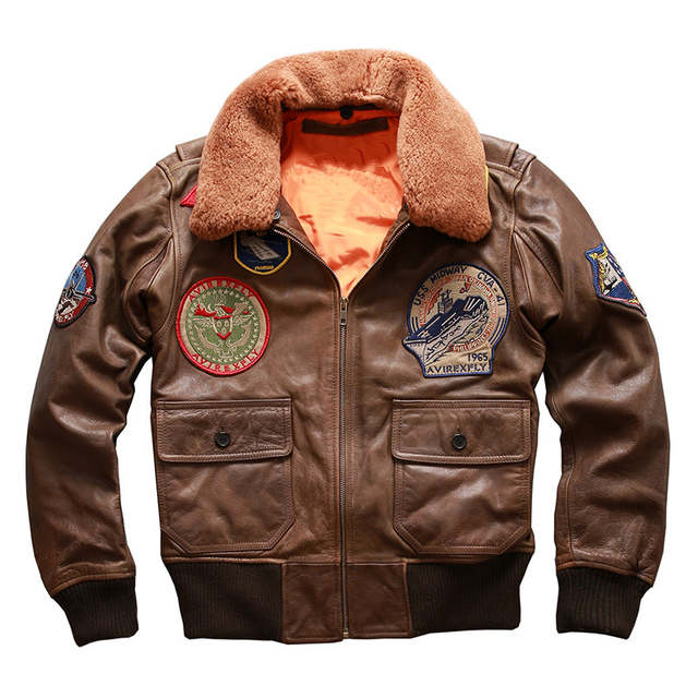 7e4ab0dbf 2019 Men Brown Genuine Leather Pilot Jacket Wool Collar Plus Size XXXL Real  Cowhide Winter Russian Pilot Coat FREE SHIPPING