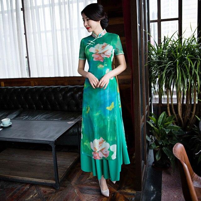 3956 25 De Descuentomoda 2018 Vietnam Ao Dai Estilos Moderno Cheongsam Largo Qipao Vestido Chino Tradicional Vestidos China Tienda De Ropa En
