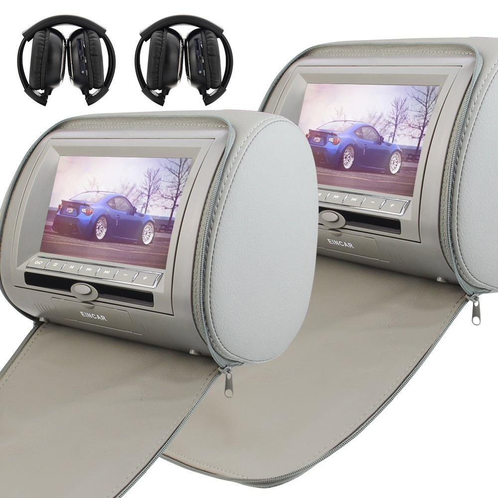 A Pair of Car Headrest Video Player 2 Digital Screen Car DVD Player USB/SD/FM AV output/32 Bit Game+Remote Control+Headphones monitors 2x7pillow hd screen zipper car headrest dvd player usb fm game disc remote control ir wireless headsets two headphones