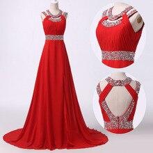 Nach Maß A-linie Red Chiffon Abendkleid Echt Bilder Abendkleider 2016