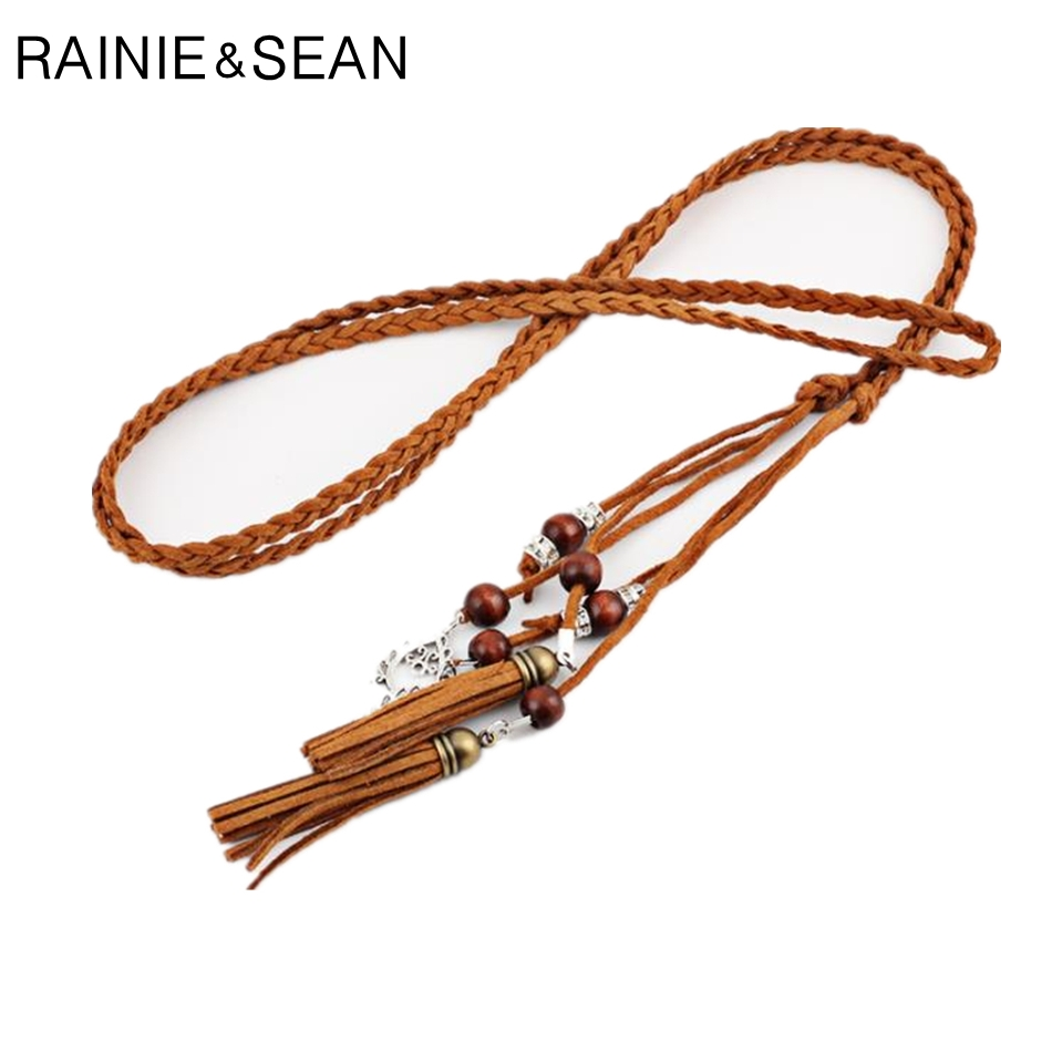 RAINIE SEAN Braided Belt For Women Pu Leather Ladies Belts For Dresses Tassel Beaded Boho Fashion Summer Belt Women 170cm