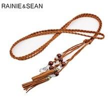 RAINIE SEAN Braided Belt For Women Pu Leather Ladies Belts Dresses Tassel Beaded Boho Fashion Summer 170cm