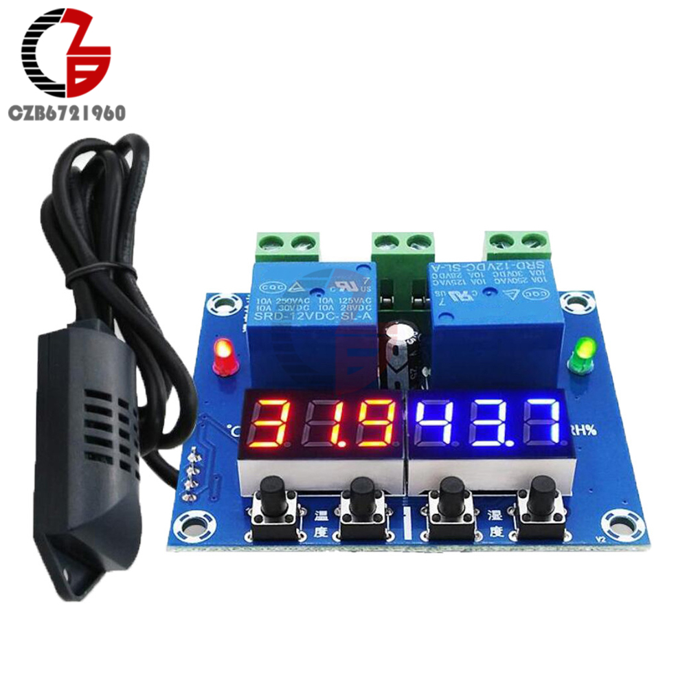 XH-M452 DC 12V LED Digital Thermostat Temperature Humidity Sensor Controller Regulator Module Thermometer Hygrometer Relay Probe elitech digital temperature thermostat 2 relay output control