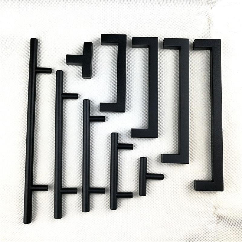 """Матовая черная квадратная ручка из нержавеющей стали Ручка для кухонной двери мебельный ящик """"~ 24"""""""