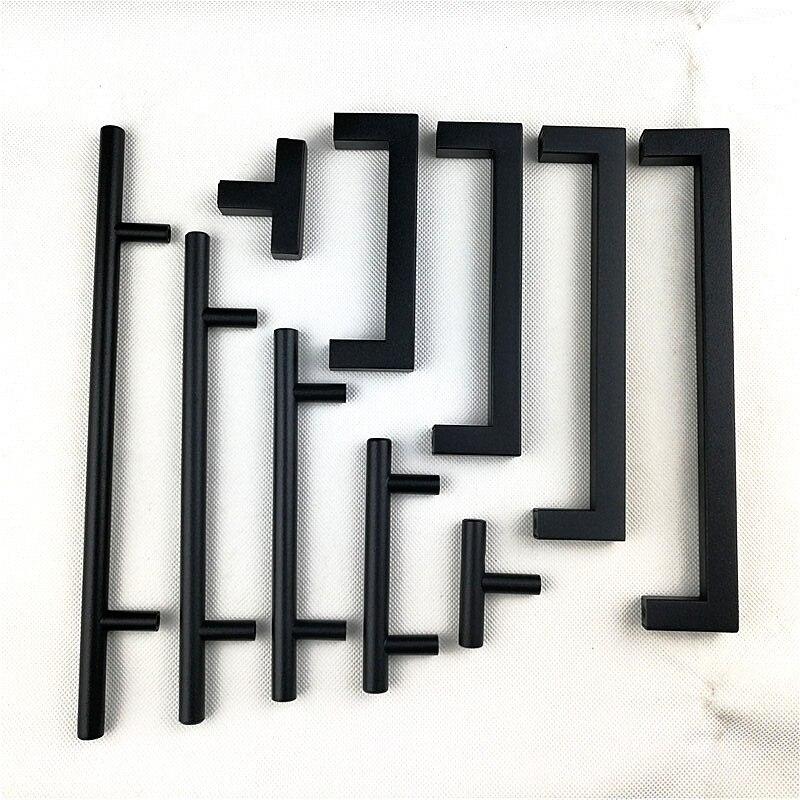 Matt Black Square Handle  Stainless Steel Cabinet Handle Kitchen Door Knob Furniture Drawer Pull 2