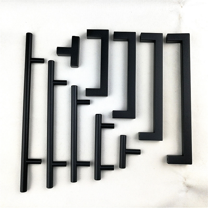 5 10 25 Cabinet Pull Square Drawer Handles Kitchen: Matt Black Square Handle Stainless Steel Cabinet Handle
