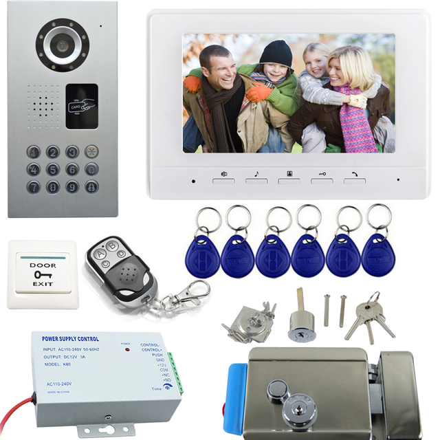 Wired doorbell walkie talkie Intercom system Color Video Door Phone ...