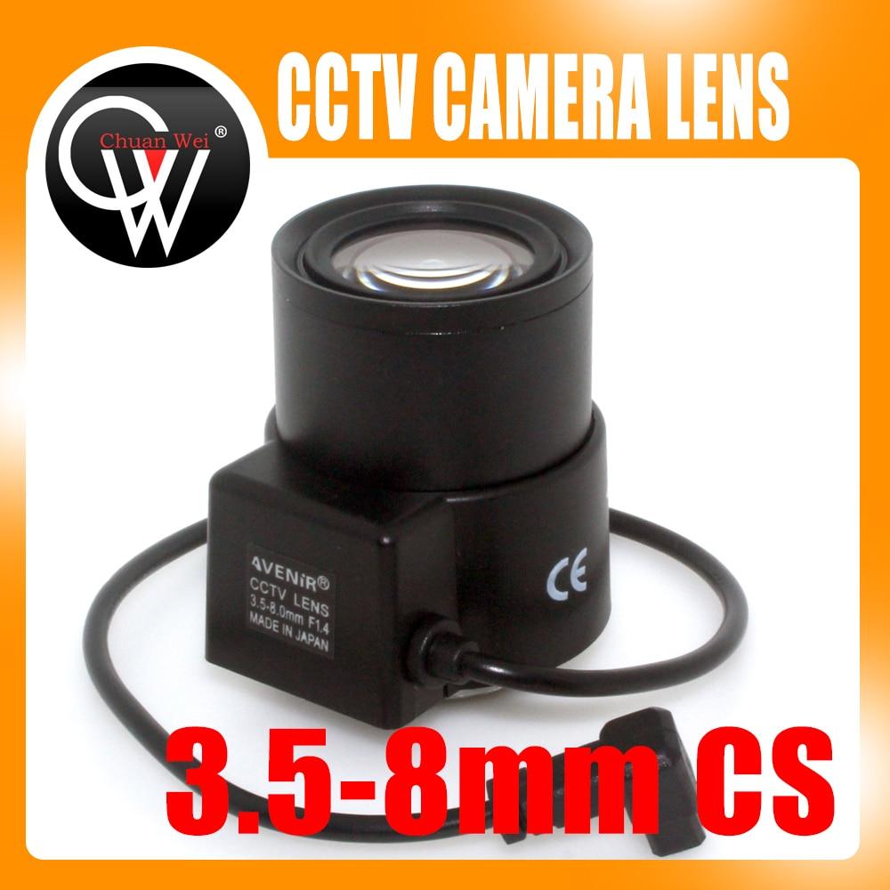 Japan imports 3.5-8mm lens CS Mount Varifocal Manual Iris CCTV Lens for CCTV Security Cameras 8mm 12mm 16mm cctv ir cs metal lens for cctv video cameras support cs mount 1 3 format f1 2 fixed iris manual focus