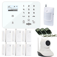 Alarm GSM Wifi Kamera Android IOS Wireless 3G/GSM SMS Alarm Kamera WiFi IP Mit GSM Einbrecher System Pir Tür-sensor W12G