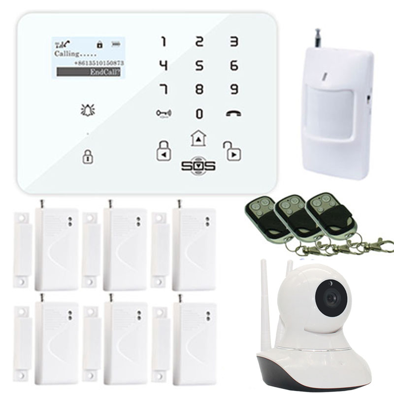 Alarm GSM Wifi Camera Android IOS Wireless 3G/GSM SMS Alarm Camera WiFi IP With GSM Burglar System PIR Motion Door Sensor W12G цена