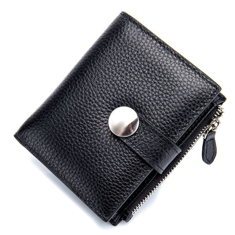New Fashion High Quality 100% Genuine Leather Women Mini Short Wallet Soft Leather Coin Purse Coin Credit Card Holder women genuine real leather short wallet zip around purse credit card holder coin change bag with mirror fashion lady id window