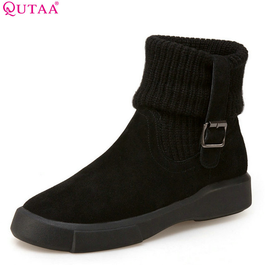 QUTAA 2018 Women Ankle Boots Genuine Leather Soft Soled Winter Wedges Heel Snow Scrub Fashion Women Shoes Size Size 34-43 free shipping women fashion winter shoes genuine leather ankle boots wedges female winter working boots plus size 34 41