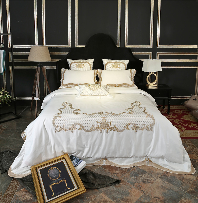 luxury white cotton soft bedding font set gold with trim bedroom and furniture french provincial