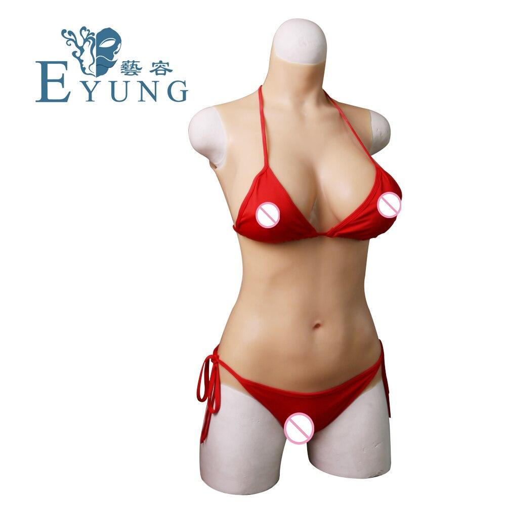 EYUNG C tazza di silicone liquido di riempimento tuta per Crossdresser Vagina penetrazione forma del seno Realistico tette finte costume da bagno figa