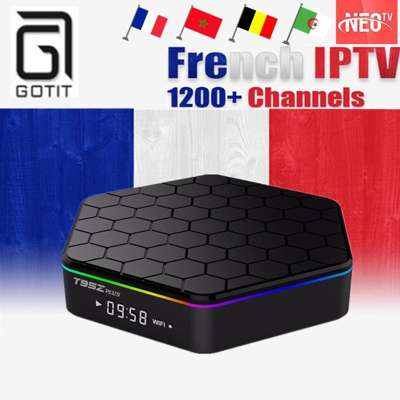 GOTiT T95Z プラス 1200 + フレンチ Android スマート 4 UHD テレビボックスアラビア IPTV サブスクリプション 16 グラム ROM H.265 モロッコ Tunesia ベルギー VOD ボックス  グループ上の 家電製品 からの セット トップ ボックス の中 1