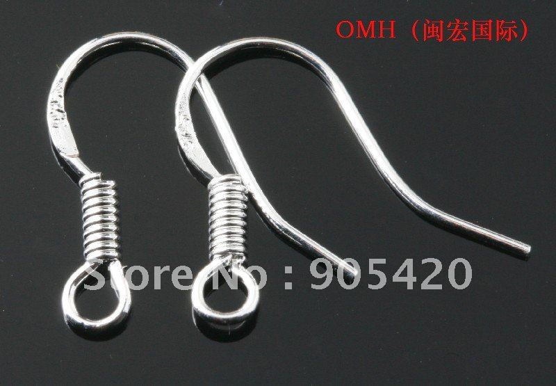 Omh Whole 925 Ear Hook 100pcs Lot Sterling Silver Earring Hooks 15mm