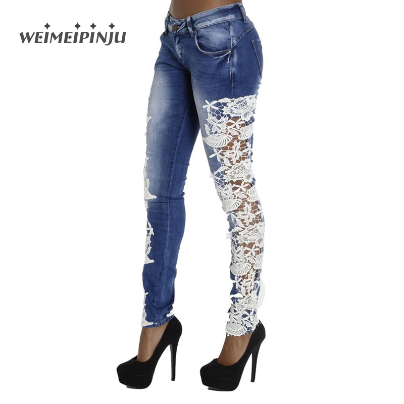 Women s Jeans With White Lace Flower Boyfriend Denim Button Pants Female High Waist Skinny Jeans