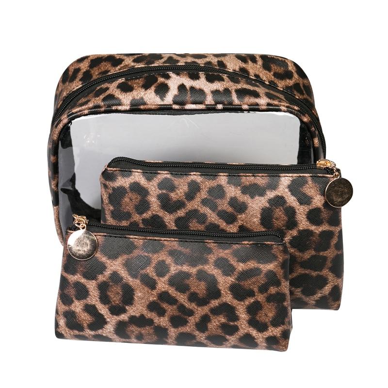 Leopard Waterproof  PVC Cosmetic Bag Women's Travel Beauty Makeup Toiletry Storage Case Lipsticks Holder Organizer Accessories