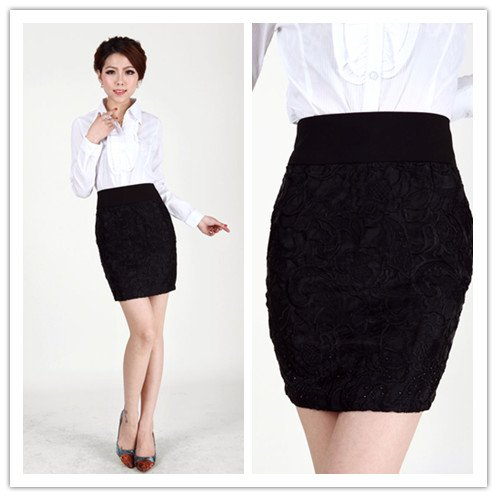 New Arrival Embroidery Flower Diamond Black Skirt Plus Size Office ...