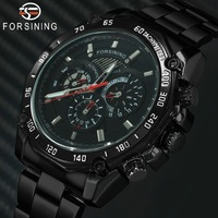 2019 FORSINING Fashion Cool Auto Mechanical Watch Men Stainless Steel Strap Chronograph 3 Dials Sports Mens Watches Top Brand