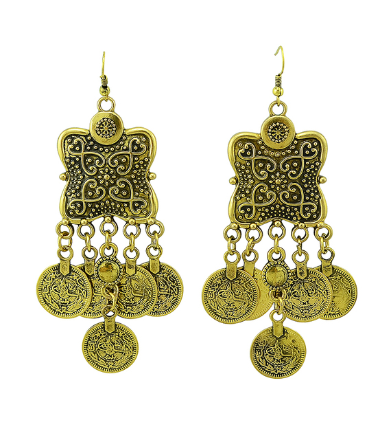 2 Colors Bohemian Carving Flower Coin Statement Earring Gypsy Beach India African Long Earrings For Women Jewelry