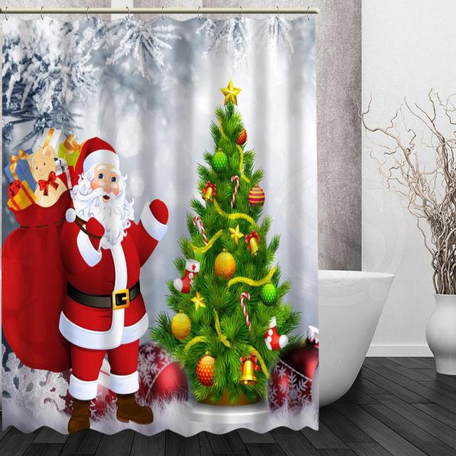Kerstman At 2 Bad Gordijn Kerst Serie Aanvaardbaar Custom Polyester