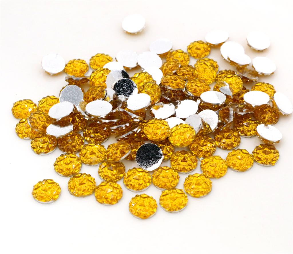 New Fashion 8mm 40pcs Gold Colors Natural Baroque Style Flat Back Resin Cabochons For Bracelet Earrings Accessories-V2-28