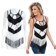 2016 New Summer Fashion Tops T-shirt Women Bohemia Sling Color Printing Tassel T-Shirt Ladies Hollow Out Sexy Women Tanks Tops