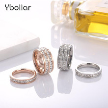Titanium Stainless Steel Rings For Women Men Double Row/One Row Crystal Zircon Wedding Engagement Ring Female Jewelry US 3-10#