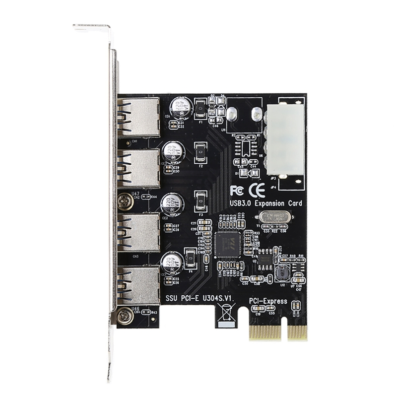 4 Port PCI-E to USB 3.0 HUB PCI Express Expansion Card Adapter 5 Gbps Speed New And High Speed dual usb 3 0 ports 54mm express card adapter silver max 5 0 gbps