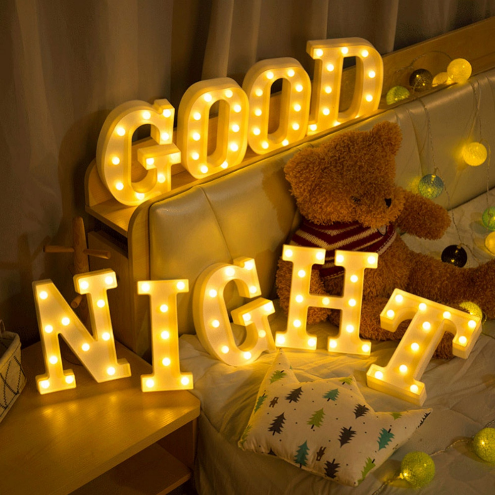 26 LED Letters Light Alphabet White Night Festival Party Home Wall ...