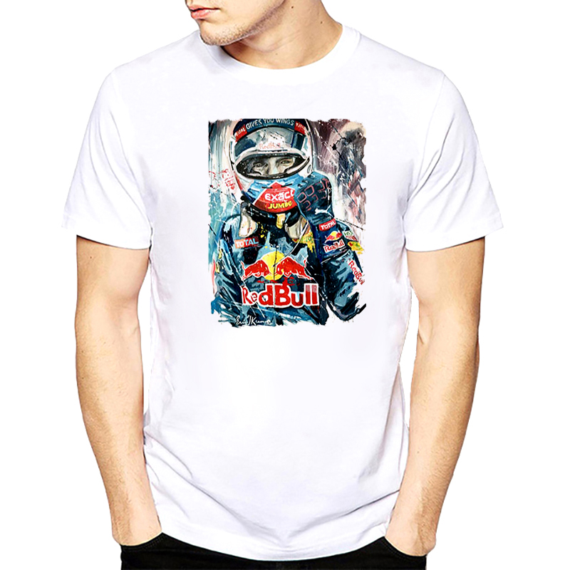2018 tshirt men Max Verstappen T Shirt F1 Racer Verstappen Print Graphic Short Sleeve Tees Shirts Men F1 Fans summer white tops