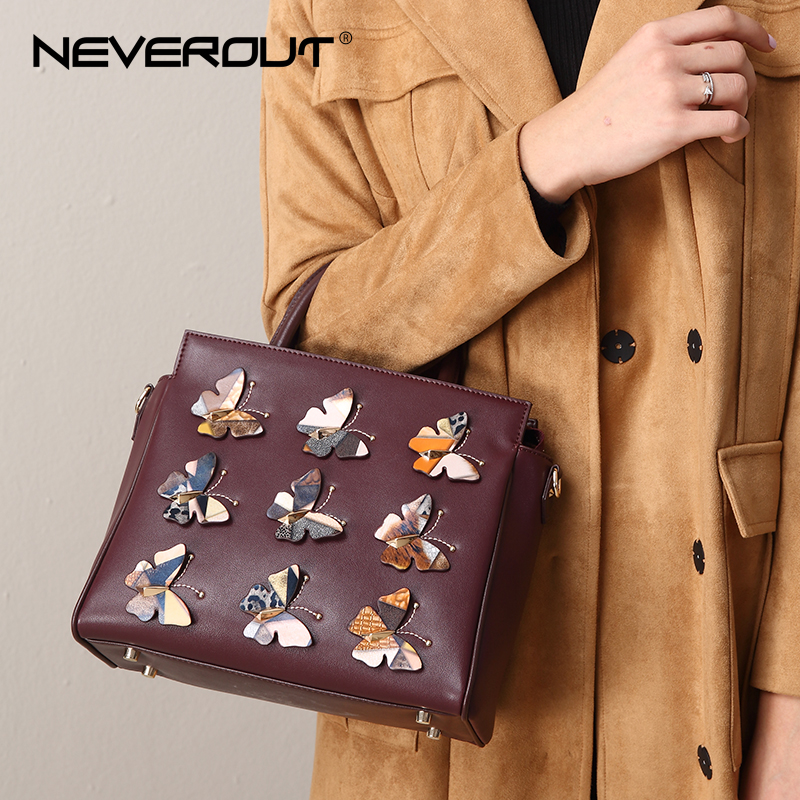 NEVEROUT High Quality Leather Handbag for Women Casual Vintage Totes Elegant Luxury Shoulder Purse Tote Handbags Sac Zipper Bag neverout oil wax style split leather bag for women vintage boston bag shoulder sac 3 color handbags tote zipper tote new handbag