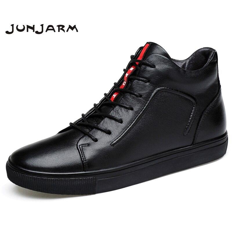 JUNJARM/100% мужские ботильоны из натуральной кожи, зимние мужские ботинки с высоким берцем, теплые ботинки на плоской подошве, Мужская зимняя об...