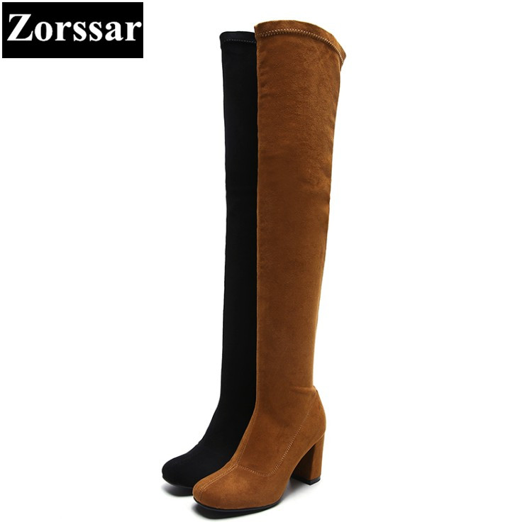{Zorssar} 2018 NEW Fashion Suede Boots Women High heels over-knee boots Round toe womens snow Boots autumn winter women shoes doratasia big size 34 43 women half knee high boots vintage flat heels warm winter fur shoes round toe platform snow boots