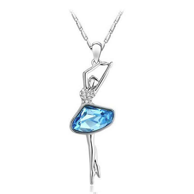 Paduan liontin Eropa dan Amerika mode ballerina kristal kalung perhiasan Kecil grosir 201