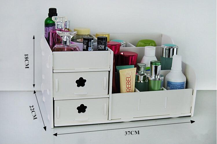Plastic Makeup Organizer Box Desktop Storage Rack Storage Box PVC Carved Skincare Cosmetic Dust And Waterproof Wooden White Rack