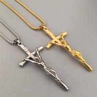 New Fashion Hip Hop Style Jesus Cross Pendant Jesus Piece Sideways Cross Charm Pendant Necklace Jewelry
