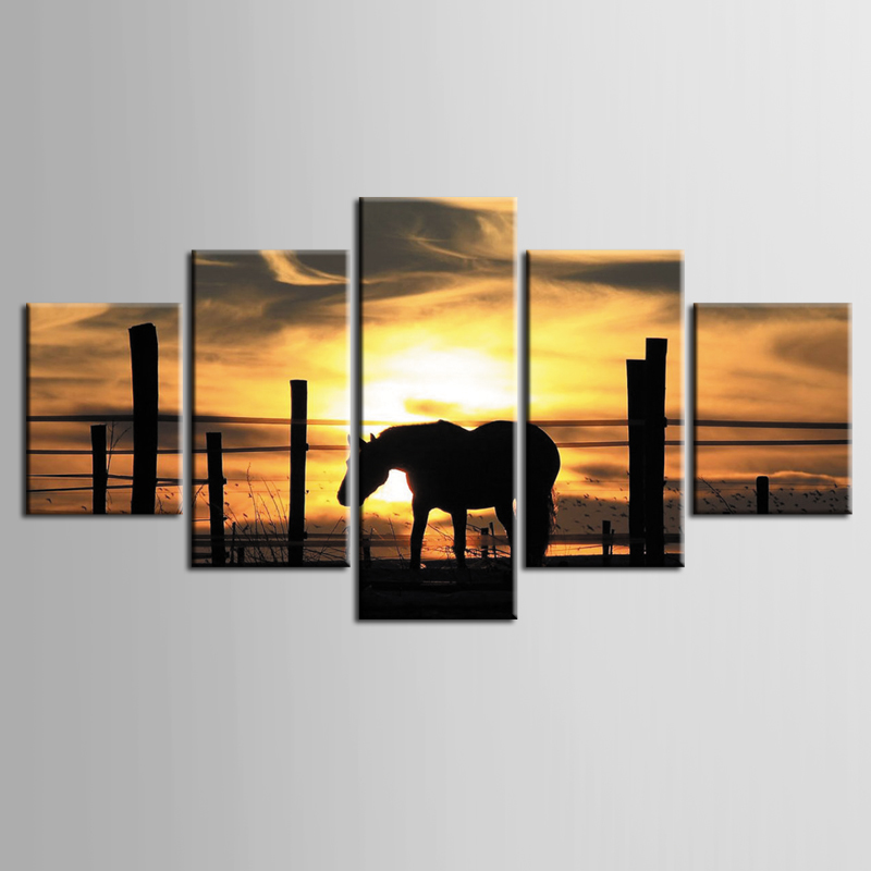 Framed 5 Panel Sunset horse Wall Art Oil Painting On Canvas Printed Painting Pictures Decor painting large living room /ZT-3-72